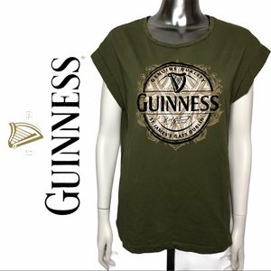 EUC Guinness Beer Graphic T-Shirt Cuff Sht Sleeve